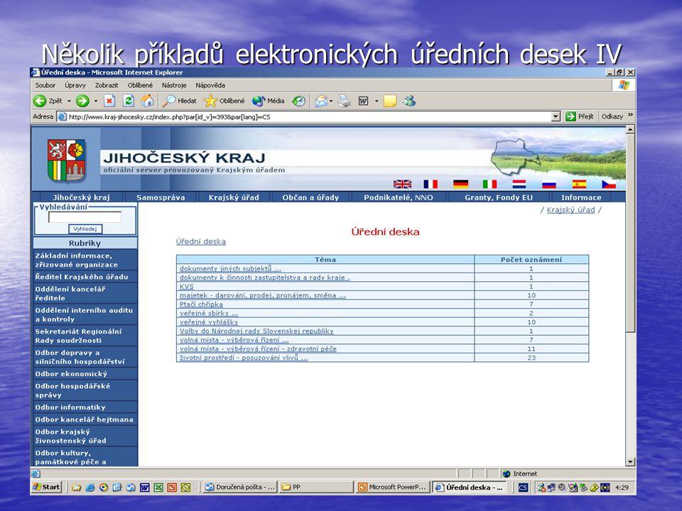 Několik příkladů elektronických úředních desek IV