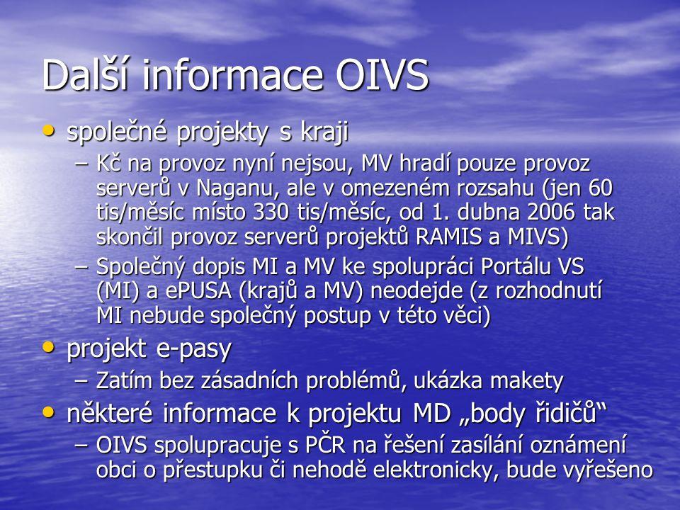 Další informace OIVS společné projekty s kraji společné projekty s kraji –Kč na provoz nyní nejsou, MV hradí pouze provoz serverů v Naganu, ale v omezeném rozsahu (jen 60 tis/měsíc místo 330 tis/měsíc, od 1.