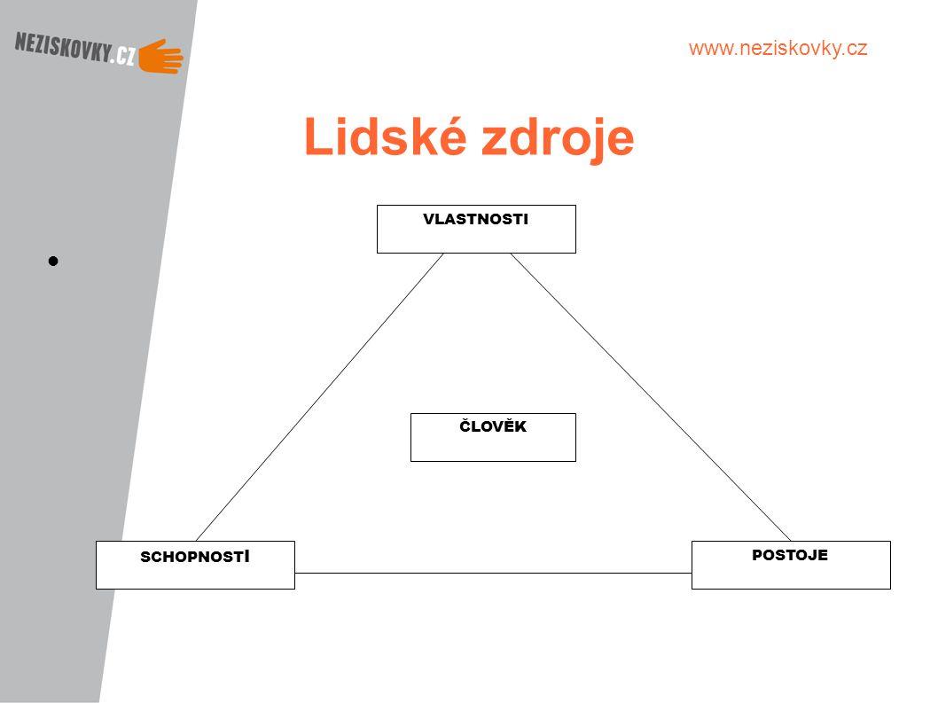 www.neziskovky.cz Lidské zdroje POSTOJE VLASTNOSTI SCHOPNOST I ČLOVĚK