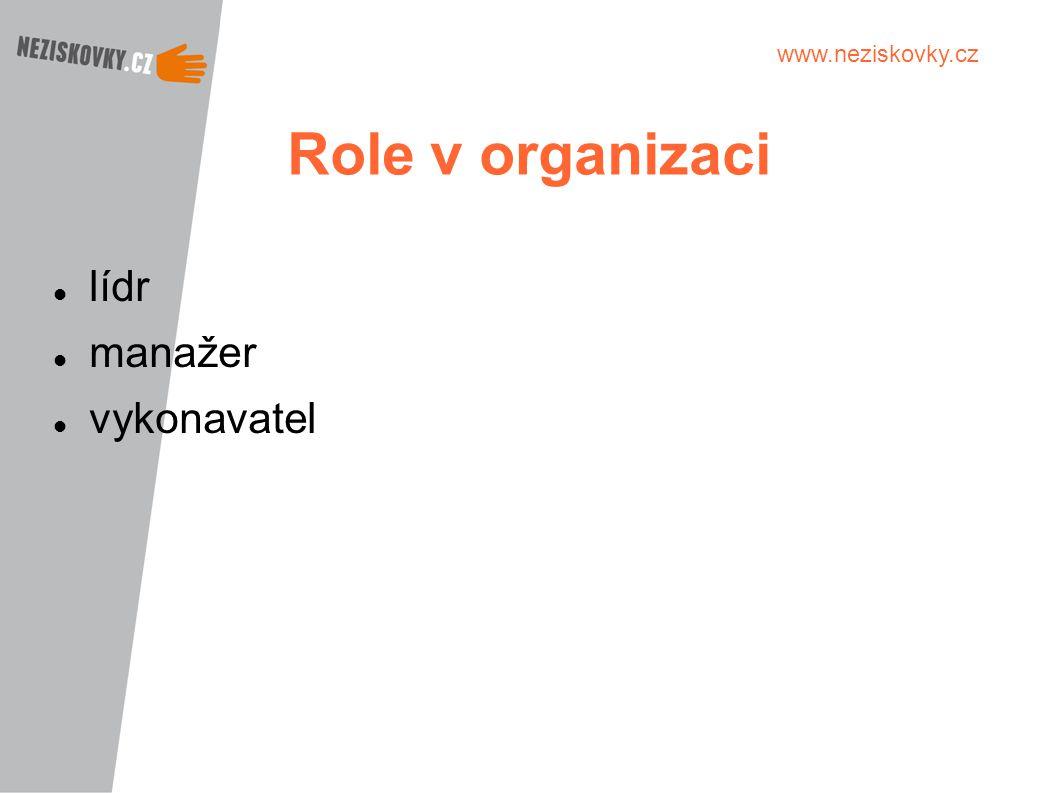 www.neziskovky.cz Role v organizaci lídr manažer vykonavatel