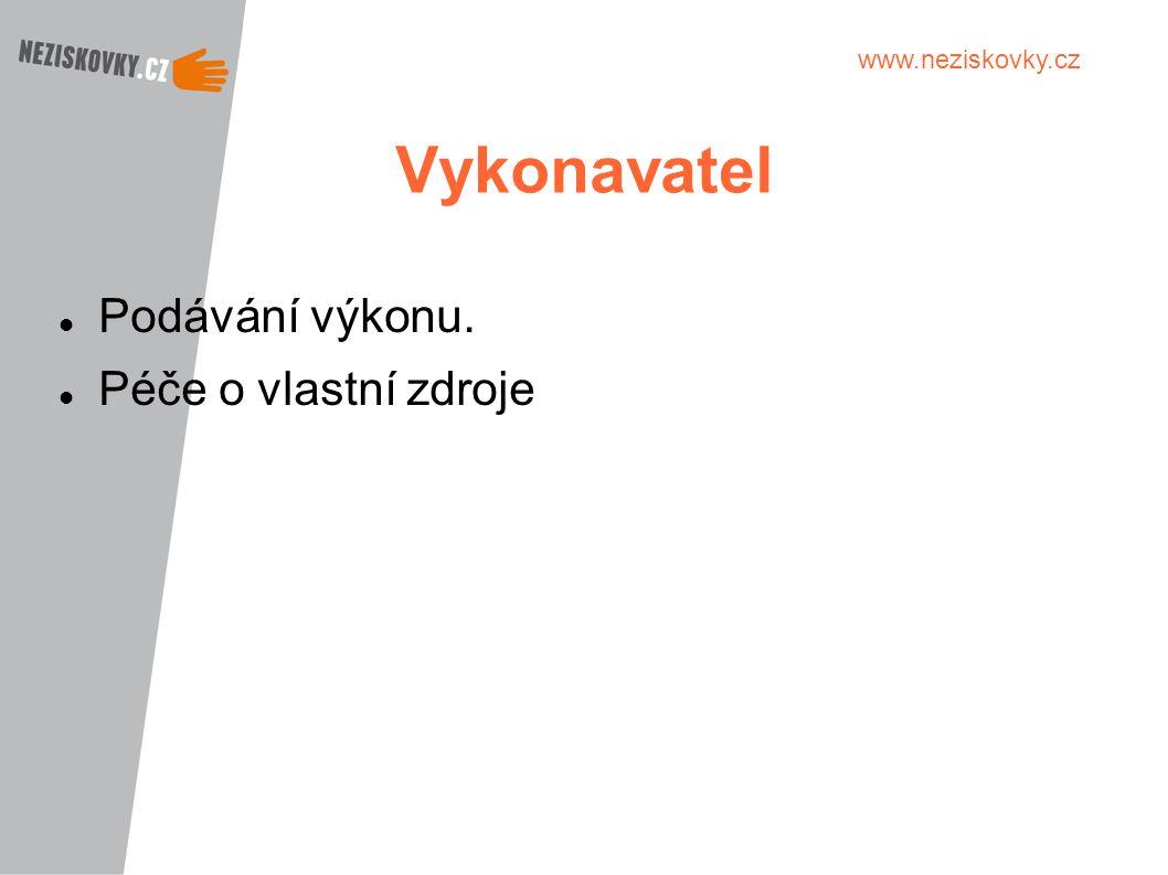 www.neziskovky.cz Vykonavatel Podávání výkonu. Péče o vlastní zdroje