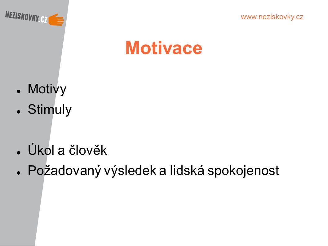 www.neziskovky.cz Motivace Motivy Stimuly Úkol a člověk Požadovaný výsledek a lidská spokojenost