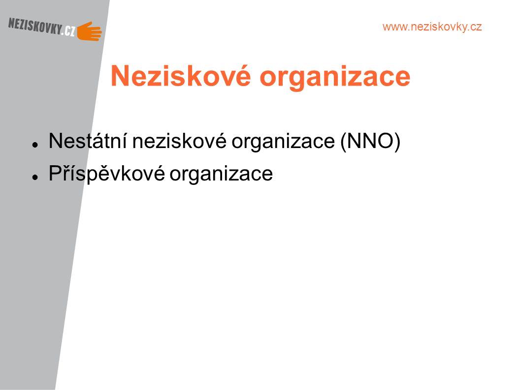 www.neziskovky.cz Neziskové organizace Nestátní neziskové organizace (NNO) Příspěvkové organizace