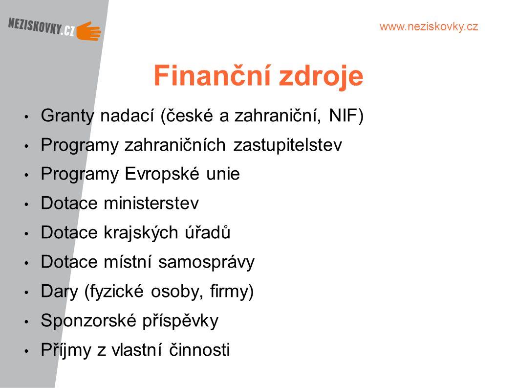 www.neziskovky.cz Finanční zdroje Granty nadací (české a zahraniční, NIF) Programy zahraničních zastupitelstev Programy Evropské unie Dotace ministers