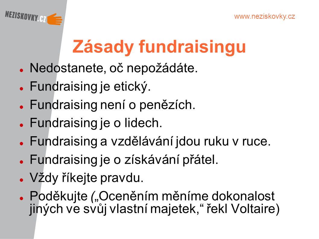www.neziskovky.cz Zásady fundraisingu Nedostanete, oč nepožádáte. Fundraising je etický. Fundraising není o penězích. Fundraising je o lidech. Fundrai