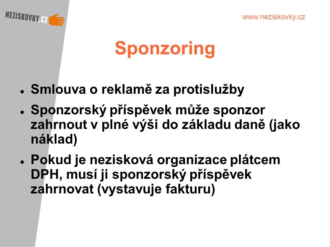 www.neziskovky.cz Sponzoring Smlouva o reklamě za protislužby Sponzorský příspěvek může sponzor zahrnout v plné výši do základu daně (jako náklad) Pok