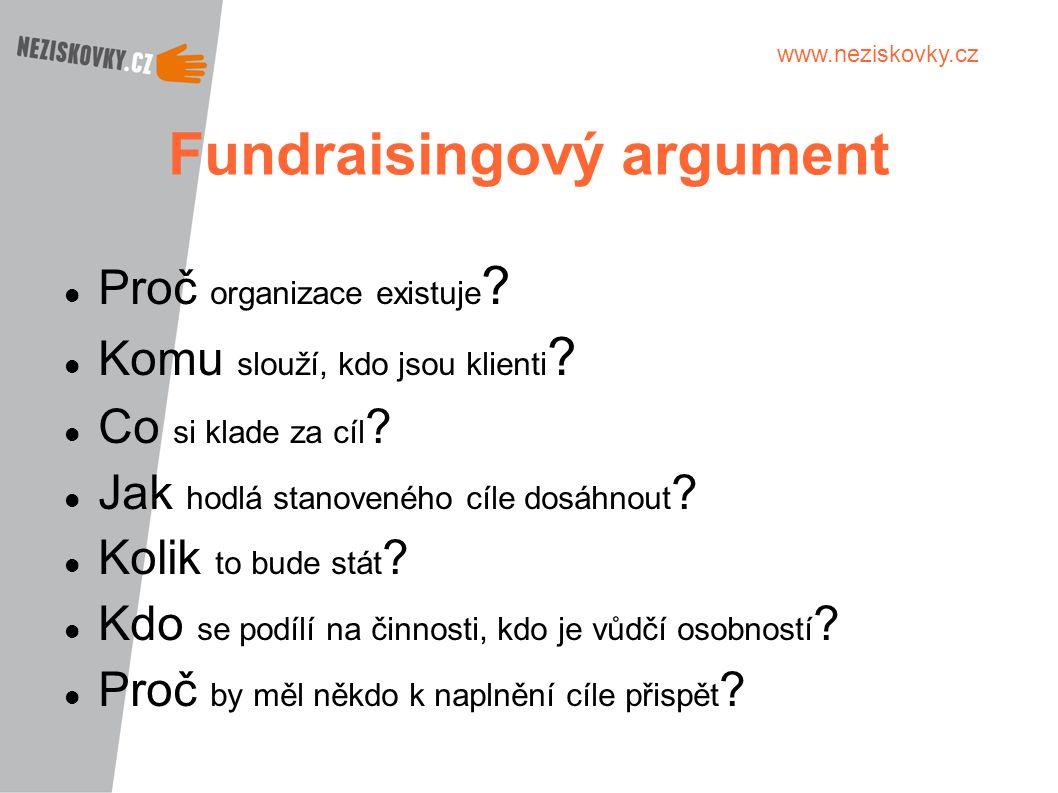 www.neziskovky.cz Fundraisingový argument Proč organizace existuje ? Komu slouží, kdo jsou klienti ? Co si klade za cíl ? Jak hodlá stanoveného cíle d