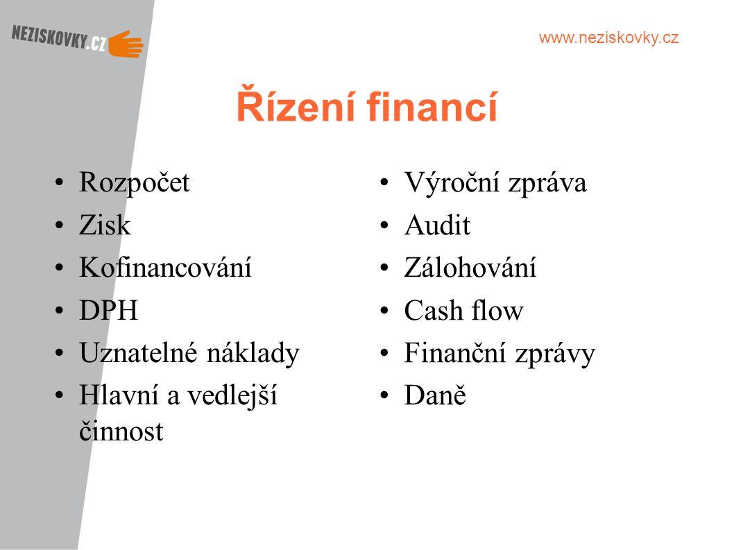 www.neziskovky.cz Řízení financí Rozpočet Zisk Kofinancování DPH Uznatelné náklady Hlavní a vedlejší činnost Výroční zpráva Audit Zálohování Cash flow
