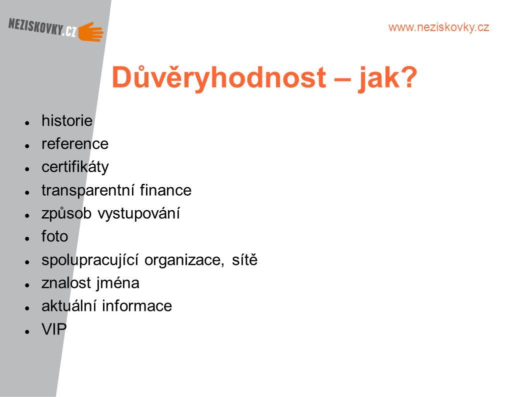 www.neziskovky.cz Důvěryhodnost – jak? historie reference certifikáty transparentní finance způsob vystupování foto spolupracující organizace, sítě zn