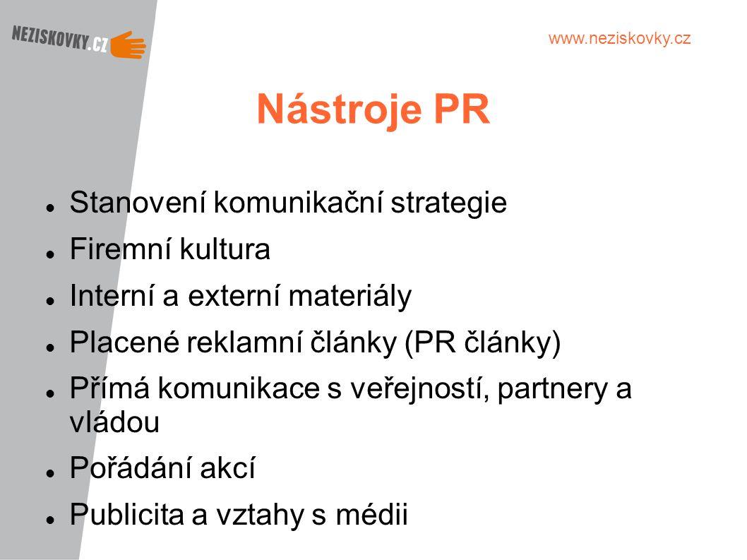 www.neziskovky.cz Nástroje PR Stanovení komunikační strategie Firemní kultura Interní a externí materiály Placené reklamní články (PR články) Přímá ko