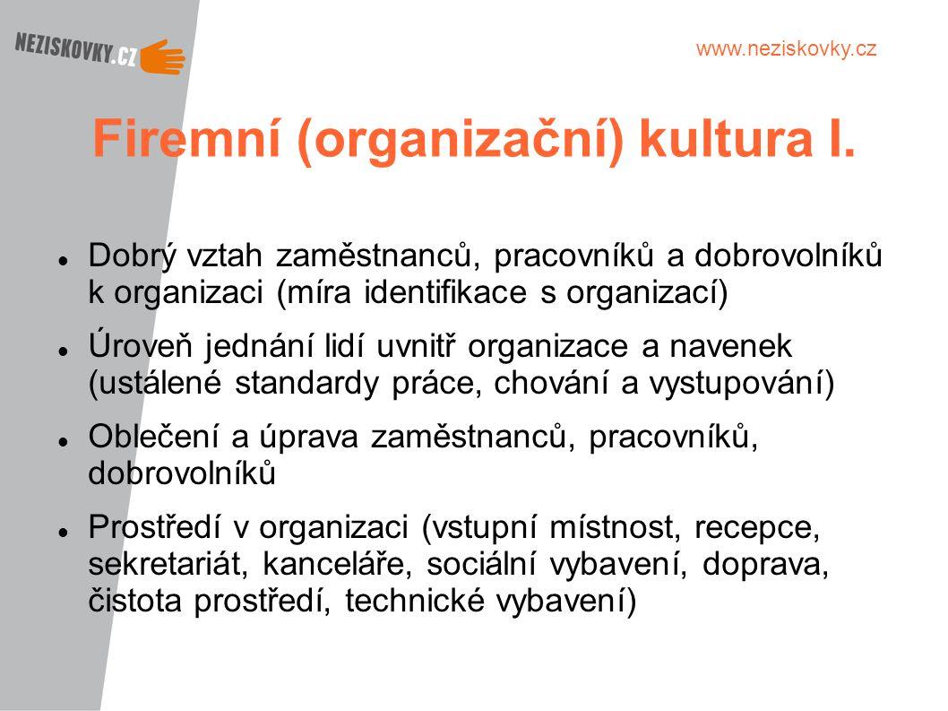 www.neziskovky.cz Firemní (organizační) kultura I. Dobrý vztah zaměstnanců, pracovníků a dobrovolníků k organizaci (míra identifikace s organizací) Úr