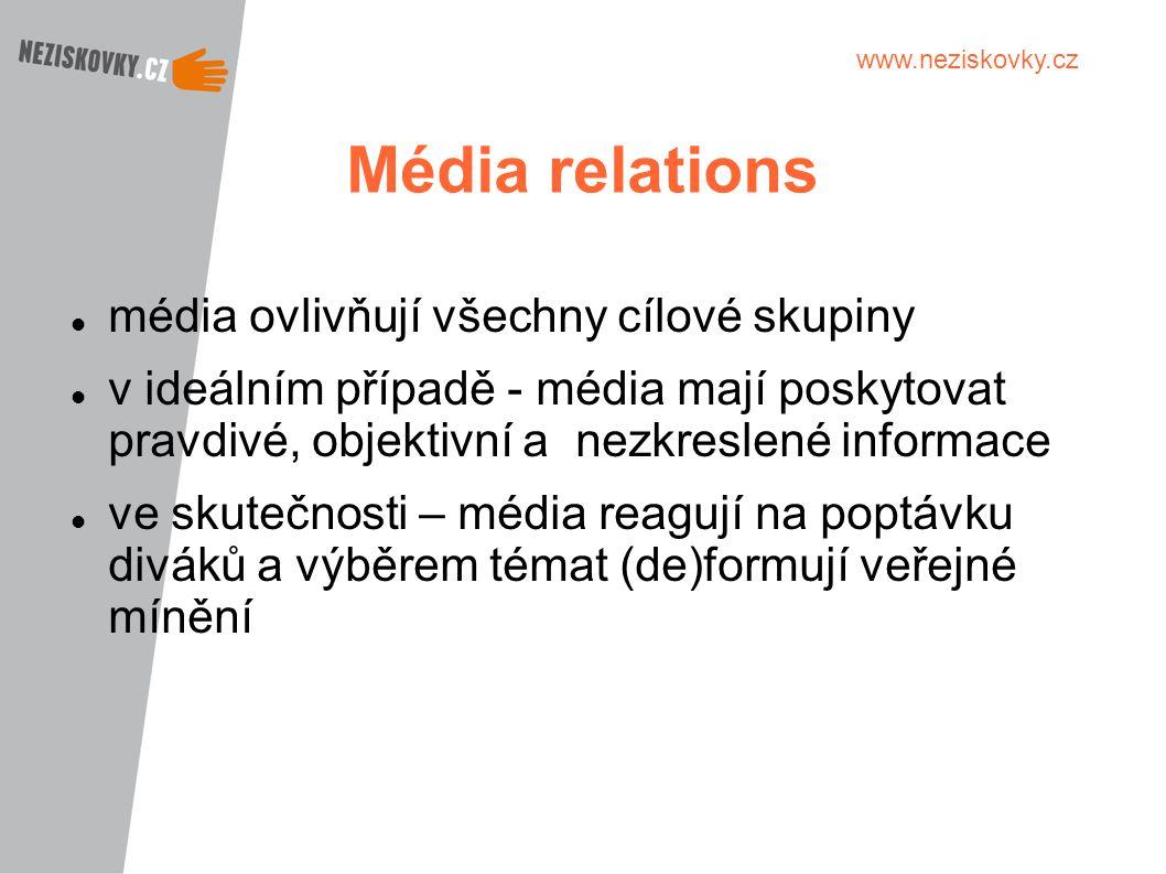 www.neziskovky.cz Média relations média ovlivňují všechny cílové skupiny v ideálním případě - média mají poskytovat pravdivé, objektivní a nezkreslené
