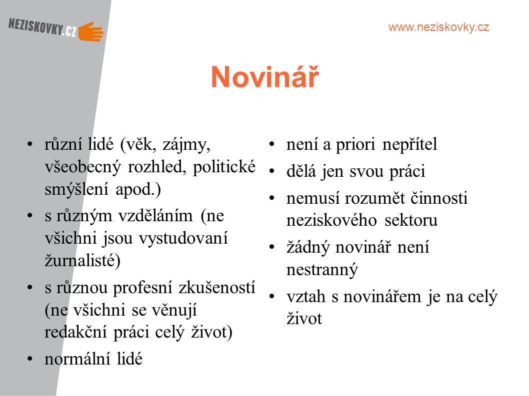 www.neziskovky.cz Novinář různí lidé (věk, zájmy, všeobecný rozhled, politické smýšlení apod.) s různým vzděláním (ne všichni jsou vystudovaní žurnali