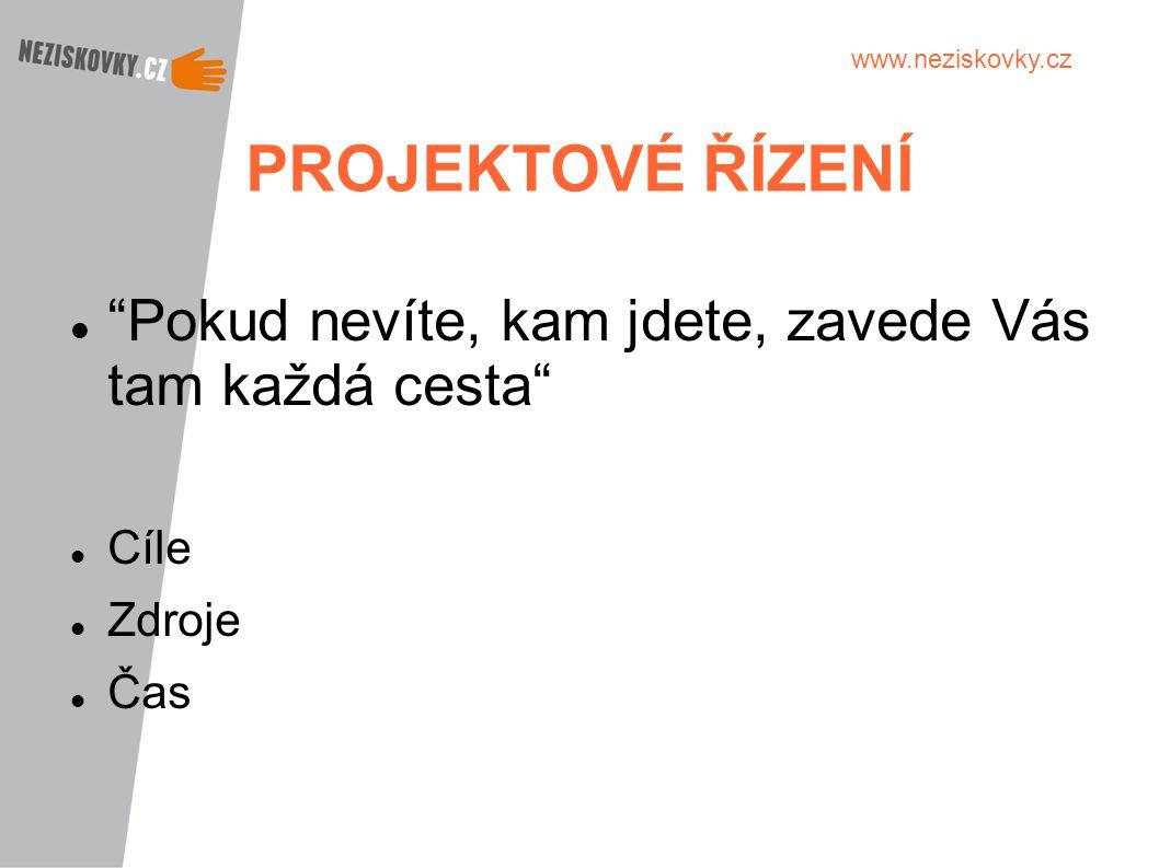 """www.neziskovky.cz PROJEKTOVÉ ŘÍZENÍ """"Pokud nevíte, kam jdete, zavede Vás tam každá cesta"""" Cíle Zdroje Čas"""