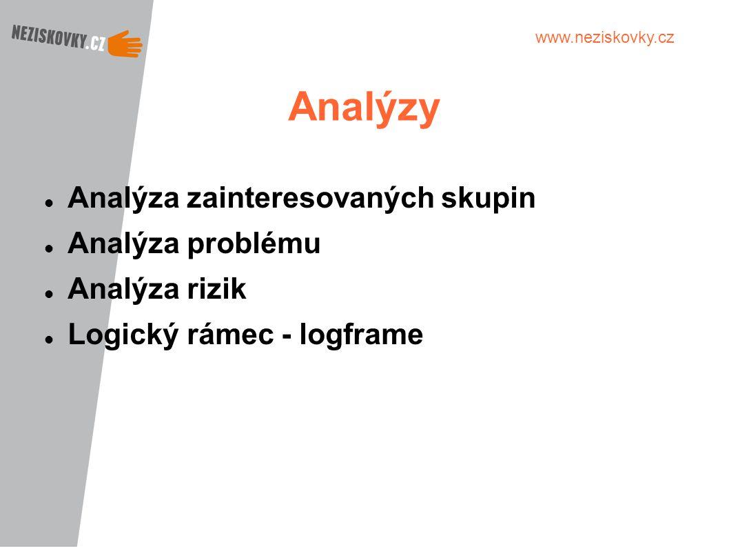 www.neziskovky.cz Analýzy Analýza zainteresovaných skupin Analýza problému Analýza rizik Logický rámec - logframe