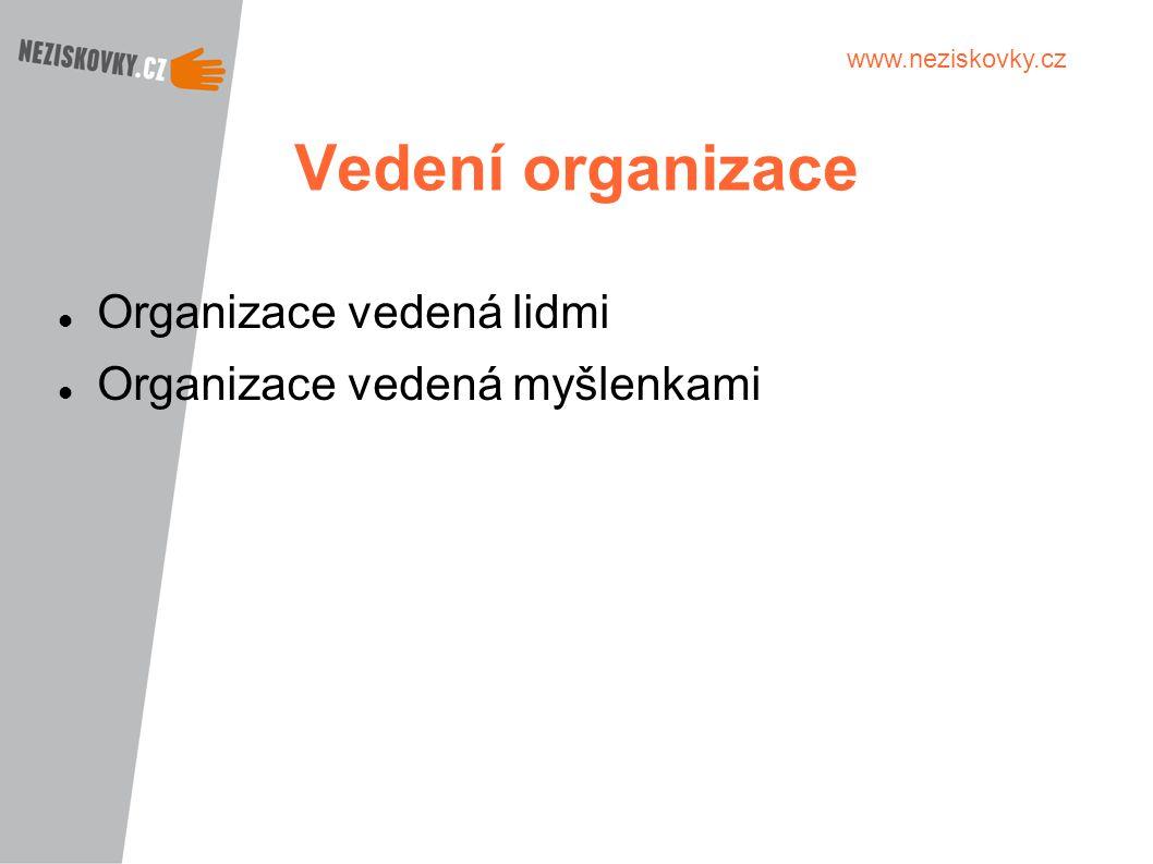 www.neziskovky.cz Vedení organizace Organizace vedená lidmi Organizace vedená myšlenkami