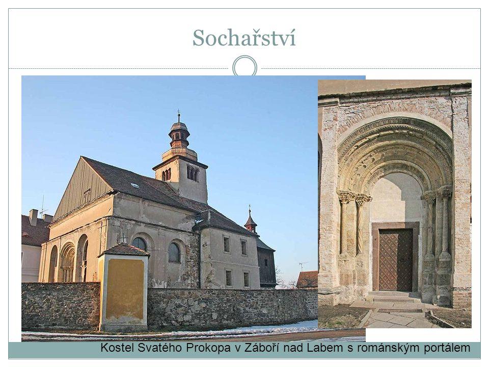 Sochařství Kostel Svatého Prokopa v Záboří nad Labem s románským portálem