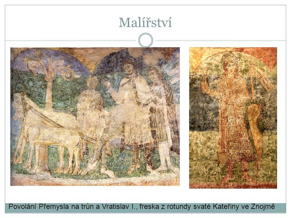 Povolání Přemysla na trůn a Vratislav I., freska z rotundy svaté Kateřiny ve Znojmě Malířství
