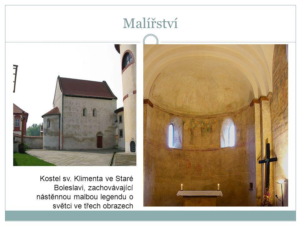 Kostel sv. Klimenta ve Staré Boleslavi, zachovávající nástěnnou malbou legendu o světci ve třech obrazech