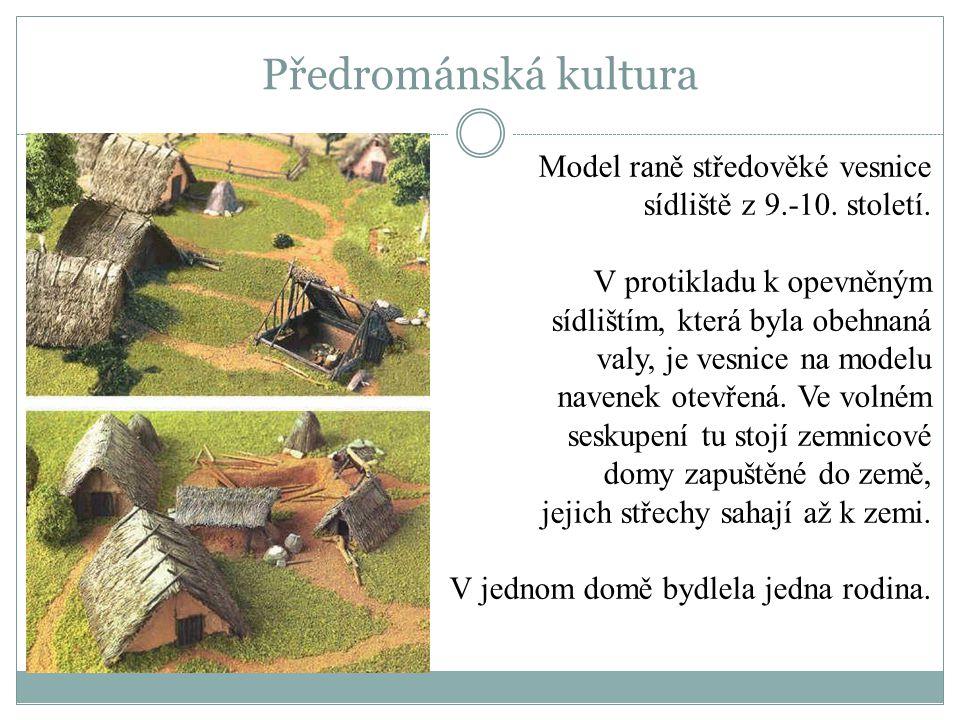 Model raně středověké vesnice sídliště z 9.-10. století. V protikladu k opevněným sídlištím, která byla obehnaná valy, je vesnice na modelu navenek ot