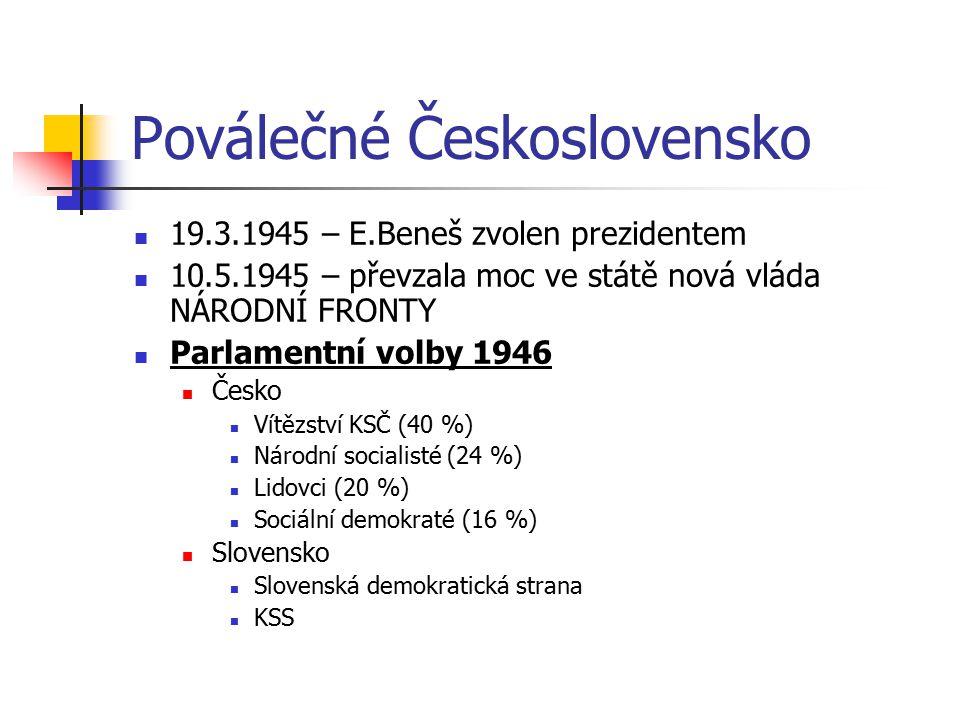Poválečné Československo 19.3.1945 – E.Beneš zvolen prezidentem 10.5.1945 – převzala moc ve státě nová vláda NÁRODNÍ FRONTY Parlamentní volby 1946 Čes