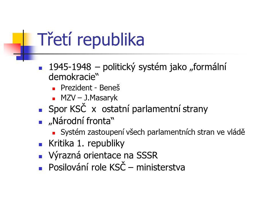 """Třetí republika 1945-1948 – politický systém jako """"formální demokracie"""" Prezident - Beneš MZV – J.Masaryk Spor KSČ x ostatní parlamentní strany """"Národ"""