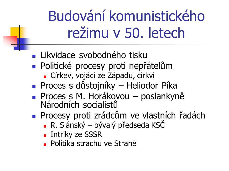 Budování komunistického režimu v 50. letech Likvidace svobodného tisku Politické procesy proti nepřátelům Církev, vojáci ze Západu, církvi Proces s dů