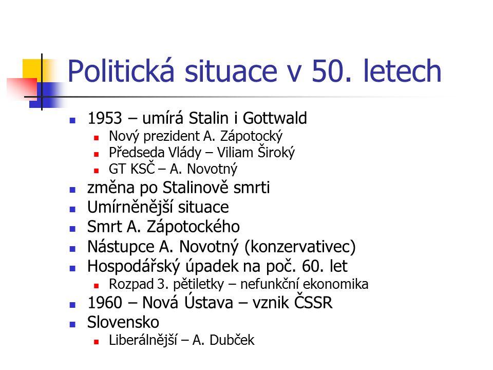 Politická situace v 50. letech 1953 – umírá Stalin i Gottwald Nový prezident A. Zápotocký Předseda Vlády – Viliam Široký GT KSČ – A. Novotný změna po