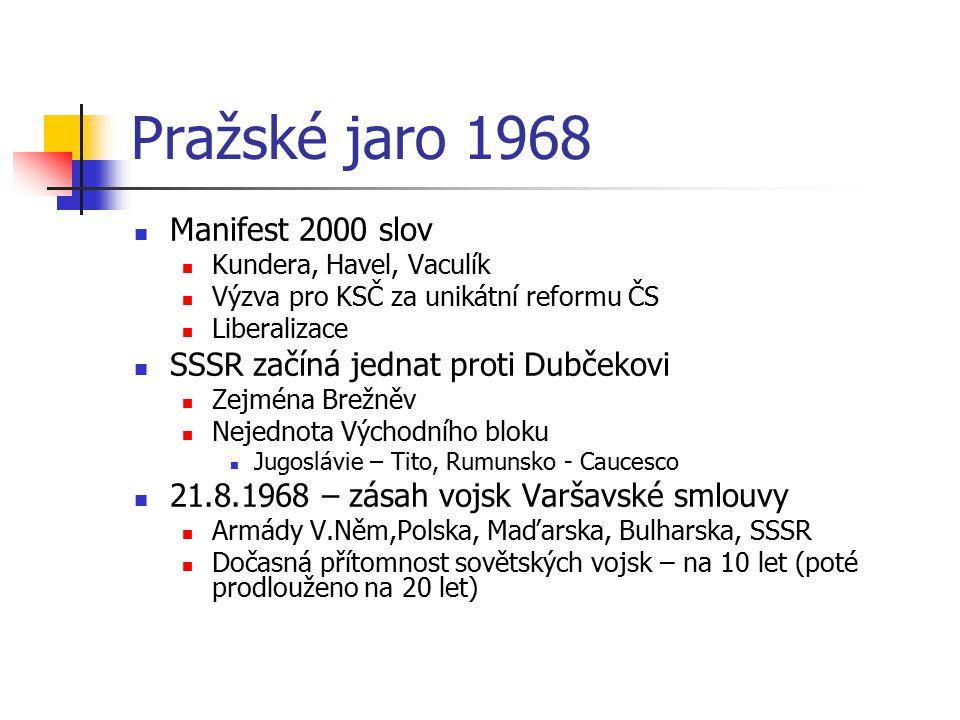 Pražské jaro 1968 Manifest 2000 slov Kundera, Havel, Vaculík Výzva pro KSČ za unikátní reformu ČS Liberalizace SSSR začíná jednat proti Dubčekovi Zejm