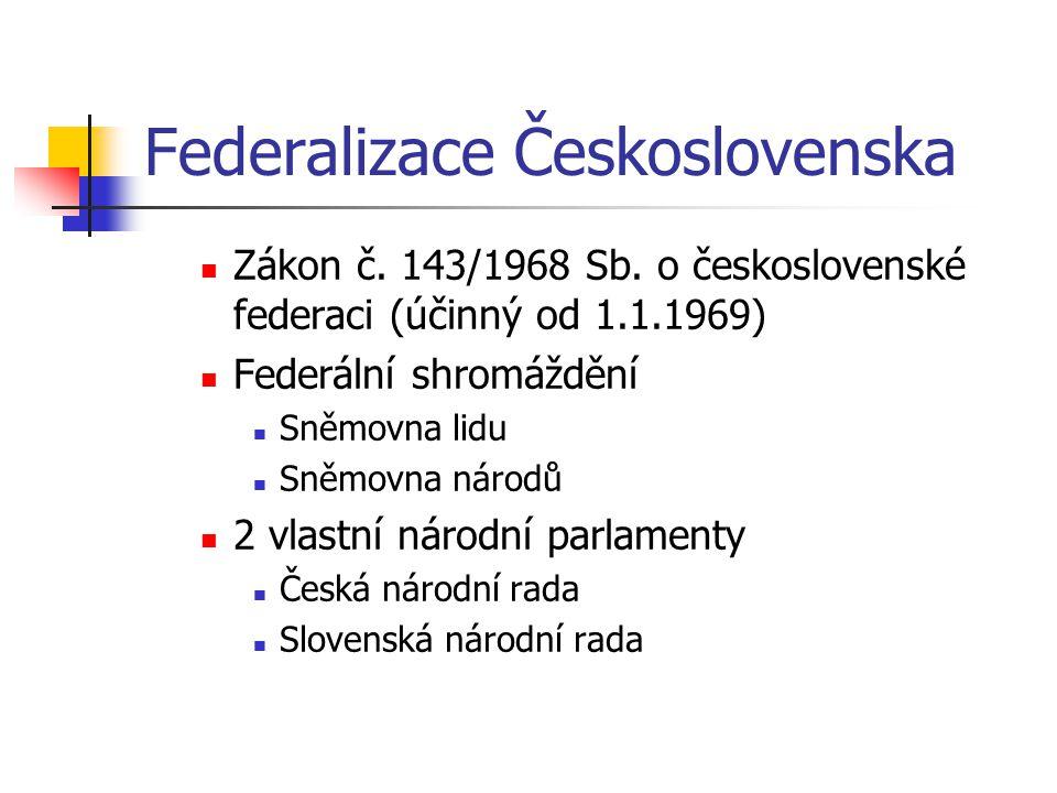 Federalizace Československa Zákon č. 143/1968 Sb. o československé federaci (účinný od 1.1.1969) Federální shromáždění Sněmovna lidu Sněmovna národů 2
