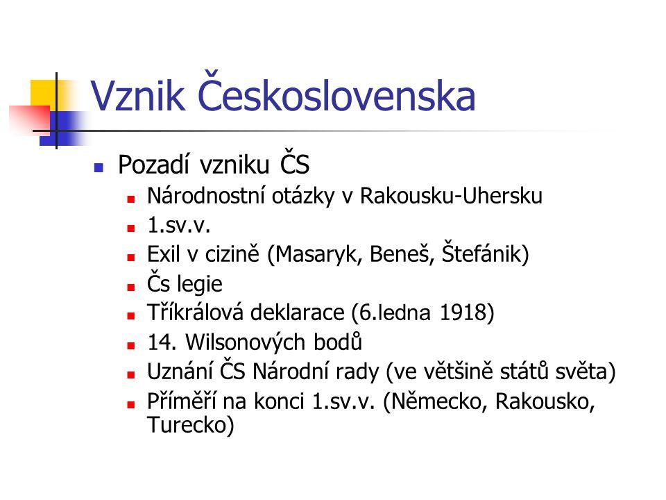 Vznik Československa Pozadí vzniku ČS Národnostní otázky v Rakousku-Uhersku 1.sv.v. Exil v cizině (Masaryk, Beneš, Štefánik) Čs legie Tříkrálová dekla