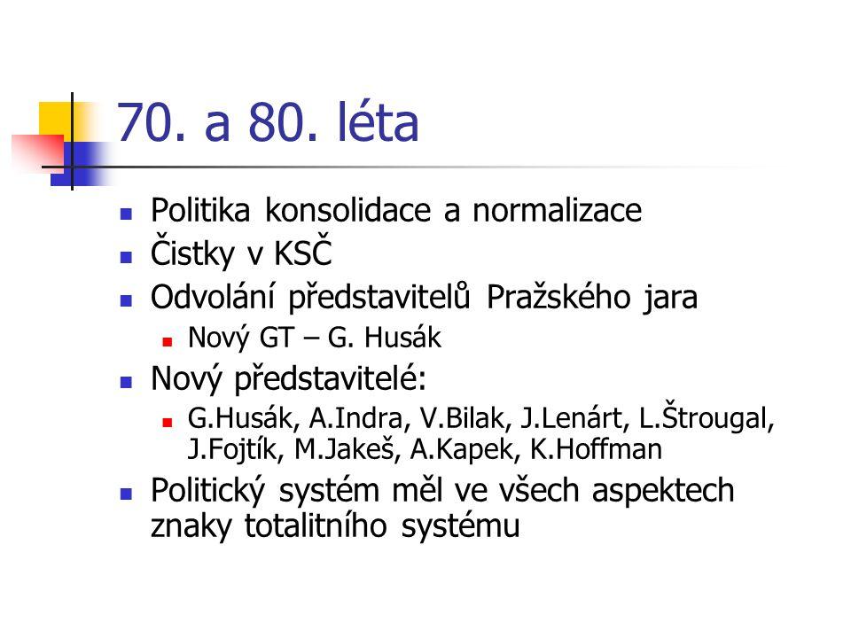 70. a 80. léta Politika konsolidace a normalizace Čistky v KSČ Odvolání představitelů Pražského jara Nový GT – G. Husák Nový představitelé: G.Husák, A