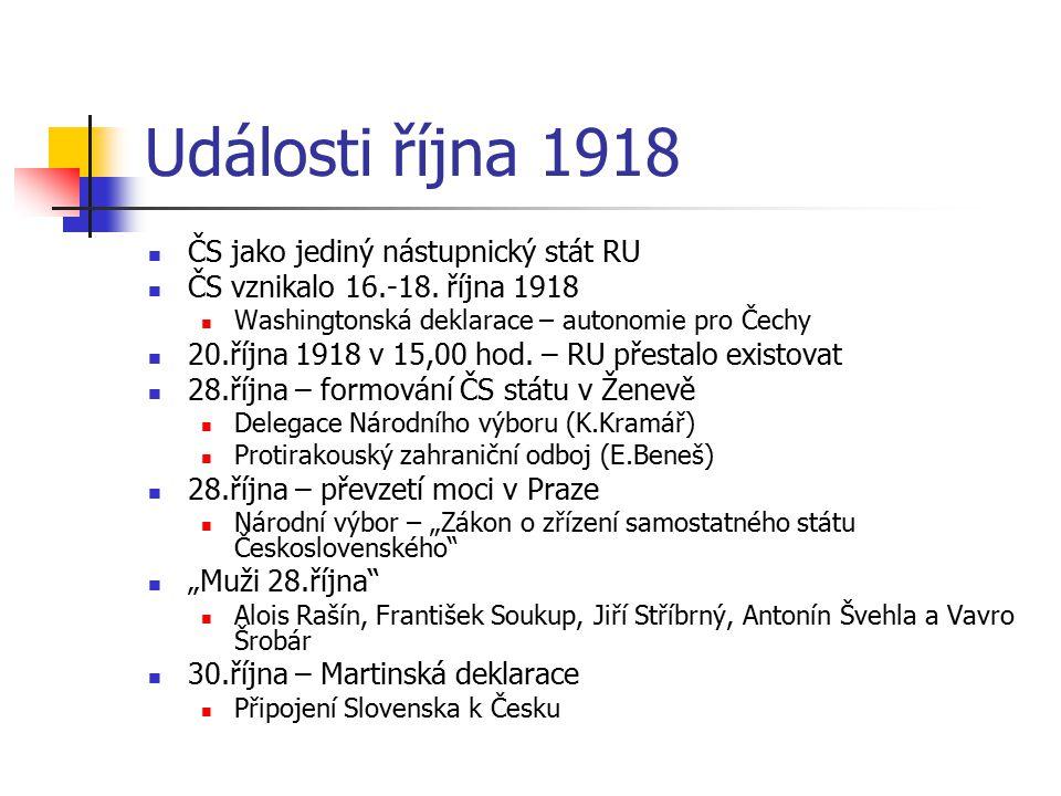 Události října 1918 ČS jako jediný nástupnický stát RU ČS vznikalo 16.-18. října 1918 Washingtonská deklarace – autonomie pro Čechy 20.října 1918 v 15