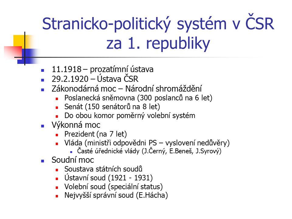 Stranicko-politický systém v ČSR za 1. republiky 11.1918 – prozatímní ústava 29.2.1920 – Ústava ČSR Zákonodárná moc – Národní shromáždění Poslanecká s