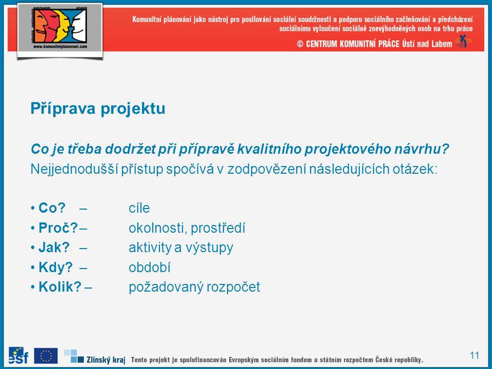 11 Příprava projektu Co je třeba dodržet při přípravě kvalitního projektového návrhu.