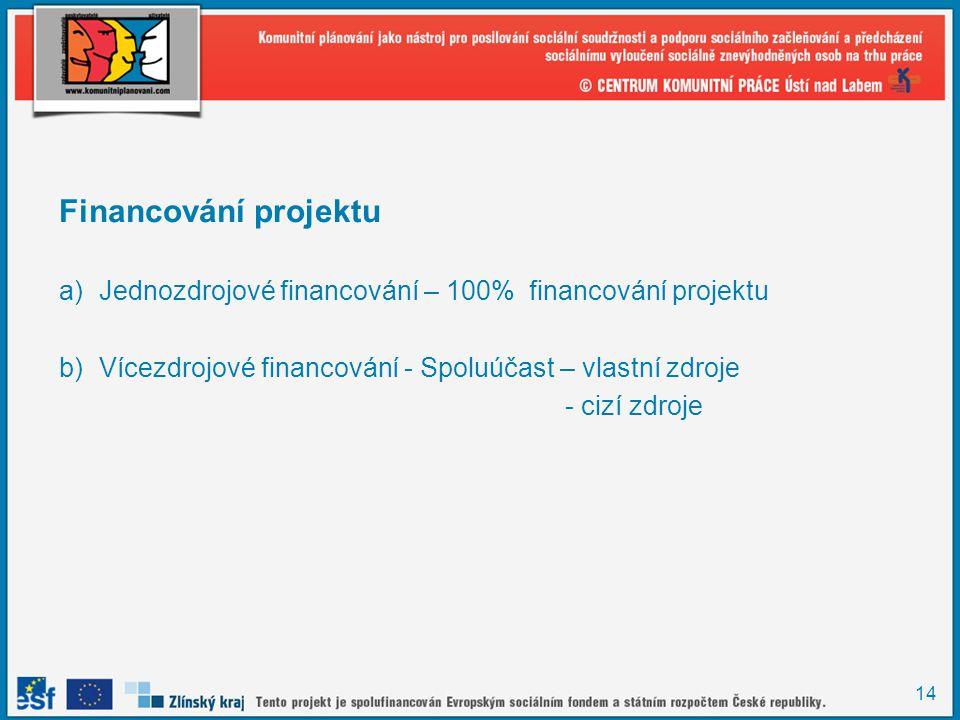 14 Financování projektu a)Jednozdrojové financování – 100% financování projektu b)Vícezdrojové financování - Spoluúčast – vlastní zdroje - cizí zdroje