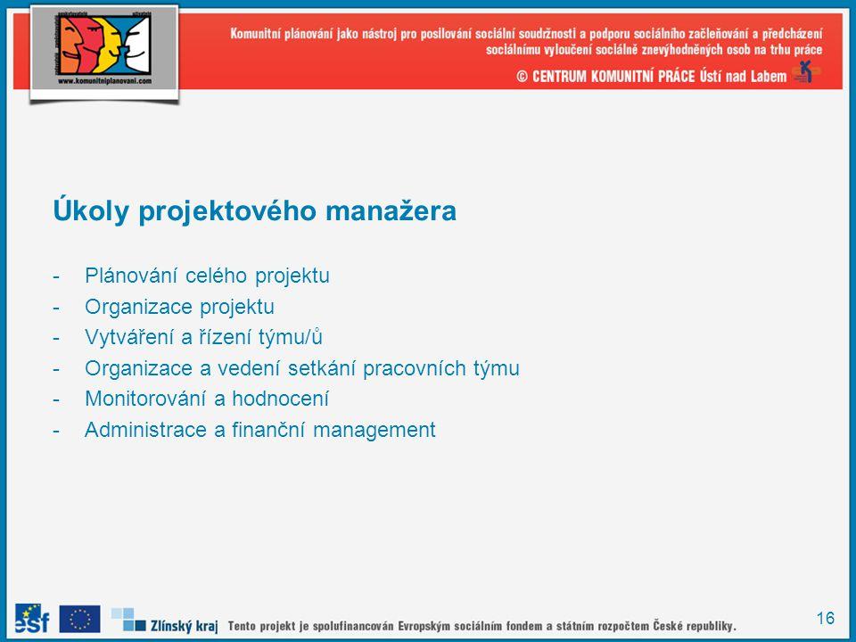 16 Úkoly projektového manažera -Plánování celého projektu -Organizace projektu -Vytváření a řízení týmu/ů -Organizace a vedení setkání pracovních týmu -Monitorování a hodnocení -Administrace a finanční management