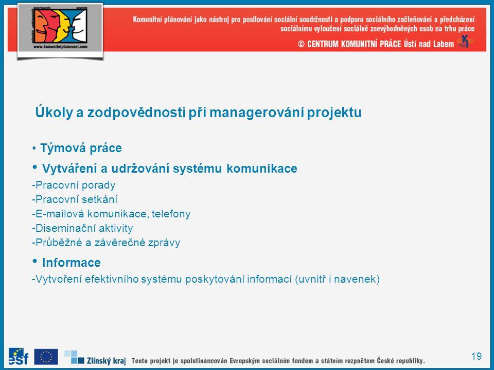 19 Úkoly a zodpovědnosti při managerování projektu Týmová práce Vytváření a udržování systému komunikace -Pracovní porady -Pracovní setkání -E-mailová