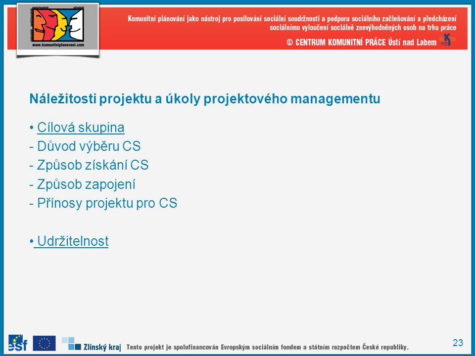 23 Náležitosti projektu a úkoly projektového managementu Cílová skupina - Důvod výběru CS - Způsob získání CS - Způsob zapojení - Přínosy projektu pro CS Udržitelnost
