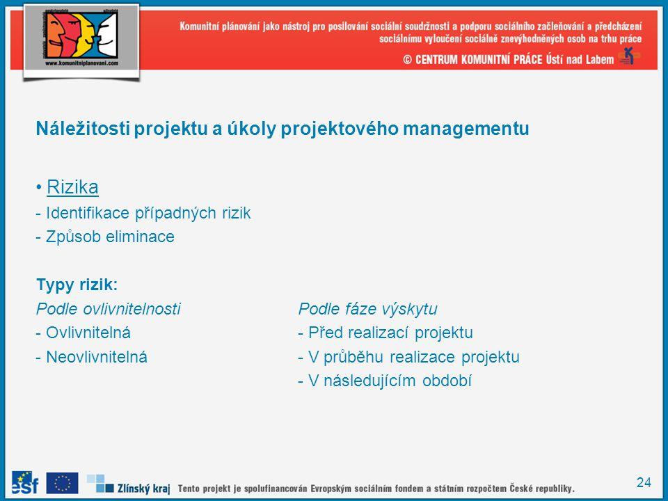 24 Náležitosti projektu a úkoly projektového managementu Rizika - Identifikace případných rizik - Způsob eliminace Typy rizik: Podle ovlivnitelnostiPodle fáze výskytu - Ovlivnitelná- Před realizací projektu - Neovlivnitelná- V průběhu realizace projektu - V následujícím období