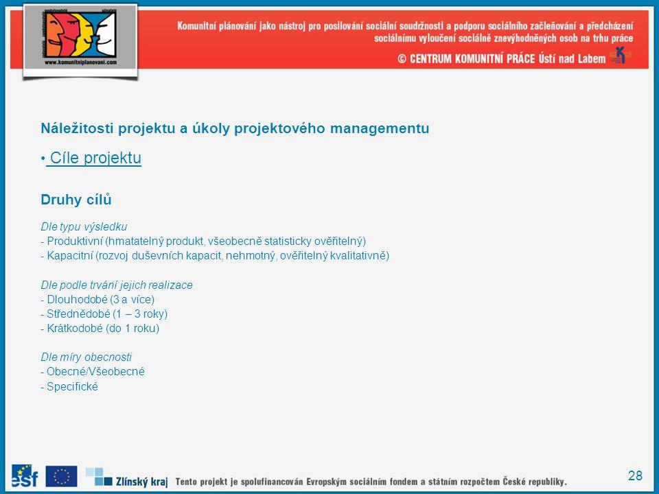 28 Náležitosti projektu a úkoly projektového managementu Cíle projektu Druhy cílů Dle typu výsledku - Produktivní (hmatatelný produkt, všeobecně statisticky ověřitelný) - Kapacitní (rozvoj duševních kapacit, nehmotný, ověřitelný kvalitativně) Dle podle trvání jejich realizace - Dlouhodobé (3 a více) - Střednědobé (1 – 3 roky) - Krátkodobé (do 1 roku) Dle míry obecnosti - Obecné/Všeobecné - Specifické