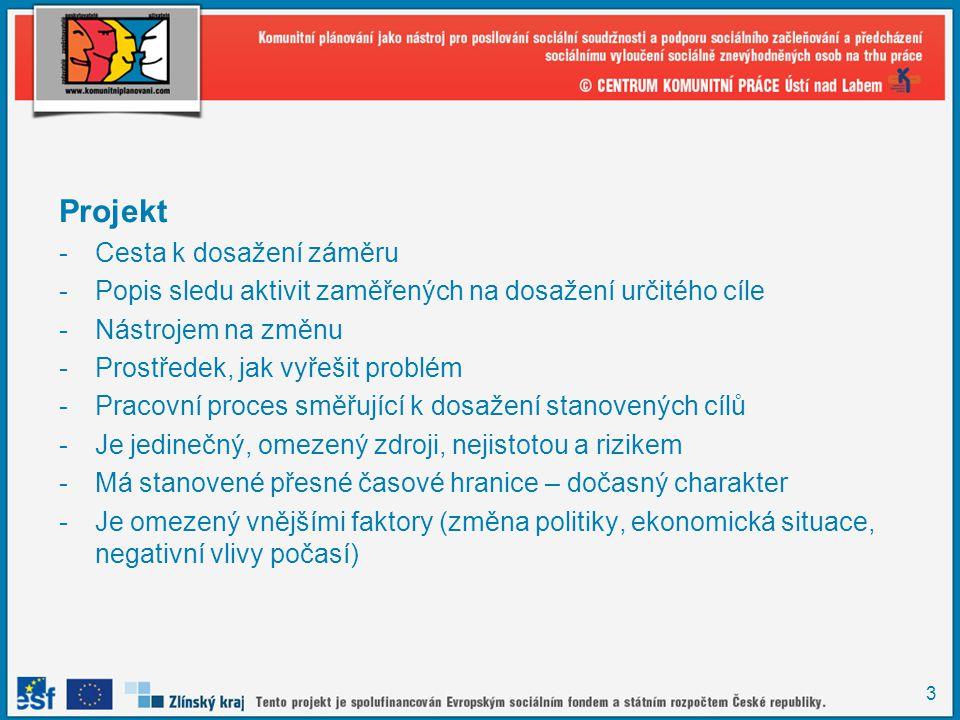 3 Projekt -Cesta k dosažení záměru -Popis sledu aktivit zaměřených na dosažení určitého cíle -Nástrojem na změnu -Prostředek, jak vyřešit problém -Pra