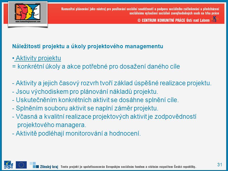 31 Náležitosti projektu a úkoly projektového managementu Aktivity projektu = konkrétní úkoly a akce potřebné pro dosažení daného cíle - Aktivity a jejich časový rozvrh tvoří základ úspěšné realizace projektu.