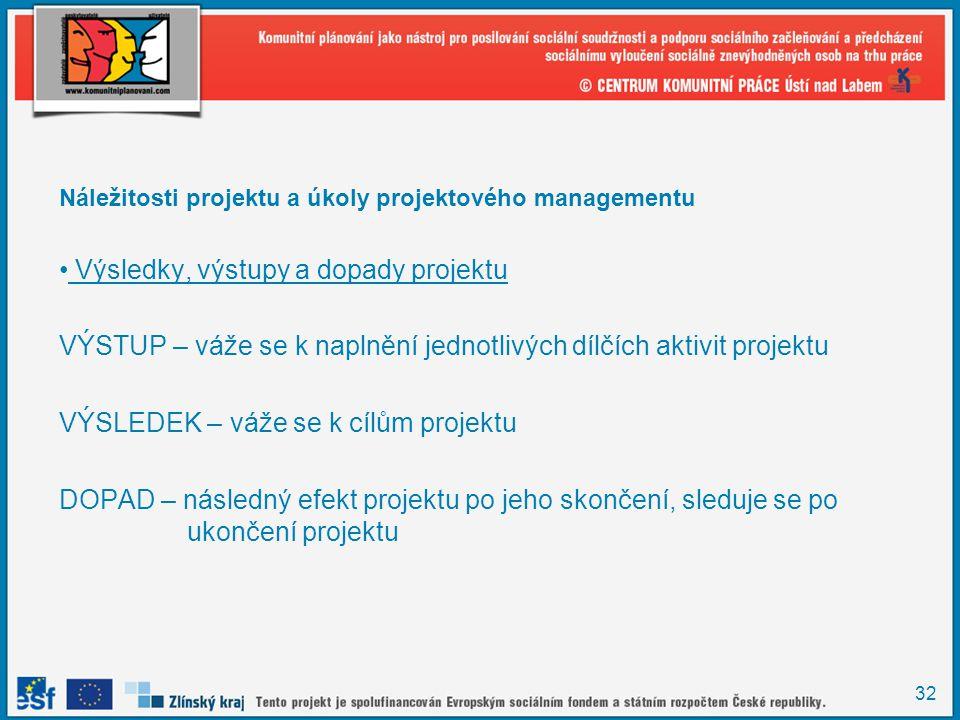 32 Náležitosti projektu a úkoly projektového managementu Výsledky, výstupy a dopady projektu VÝSTUP – váže se k naplnění jednotlivých dílčích aktivit