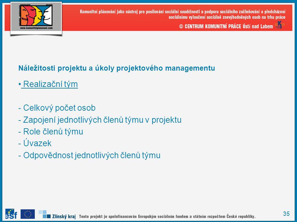 35 Náležitosti projektu a úkoly projektového managementu Realizační tým - Celkový počet osob - Zapojení jednotlivých členů týmu v projektu - Role členů týmu - Úvazek - Odpovědnost jednotlivých členů týmu