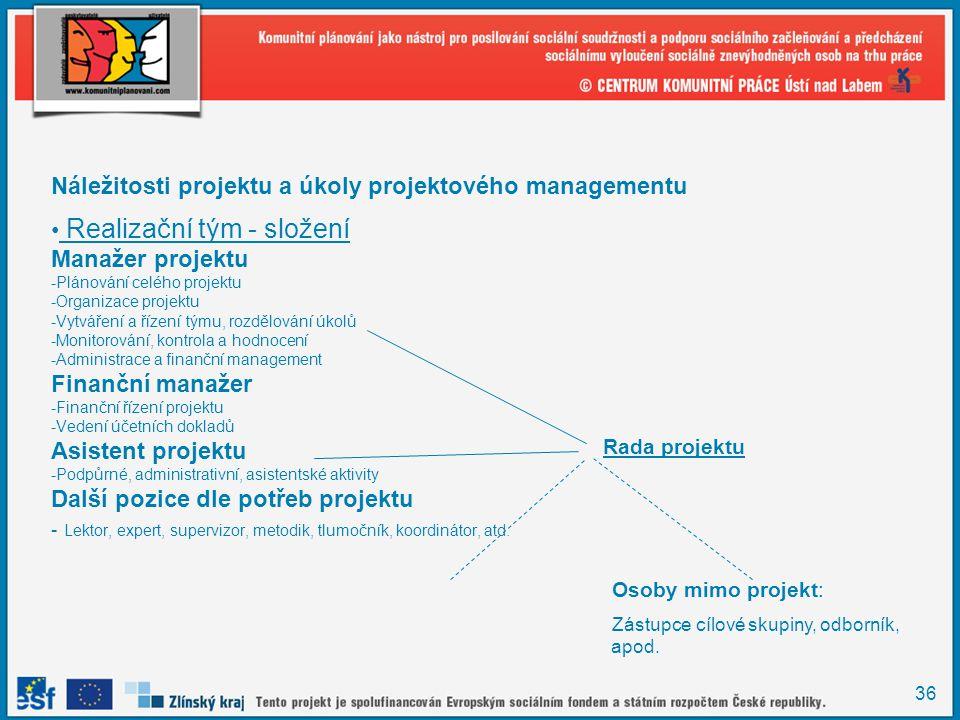 36 Náležitosti projektu a úkoly projektového managementu Realizační tým - složení Manažer projektu -Plánování celého projektu -Organizace projektu -Vytváření a řízení týmu, rozdělování úkolů -Monitorování, kontrola a hodnocení -Administrace a finanční management Finanční manažer -Finanční řízení projektu -Vedení účetních dokladů Asistent projektu -Podpůrné, administrativní, asistentské aktivity Další pozice dle potřeb projektu - Lektor, expert, supervizor, metodik, tlumočník, koordinátor, atd.