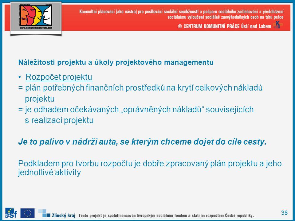 38 Náležitosti projektu a úkoly projektového managementu Rozpočet projektu = plán potřebných finančních prostředků na krytí celkových nákladů projektu