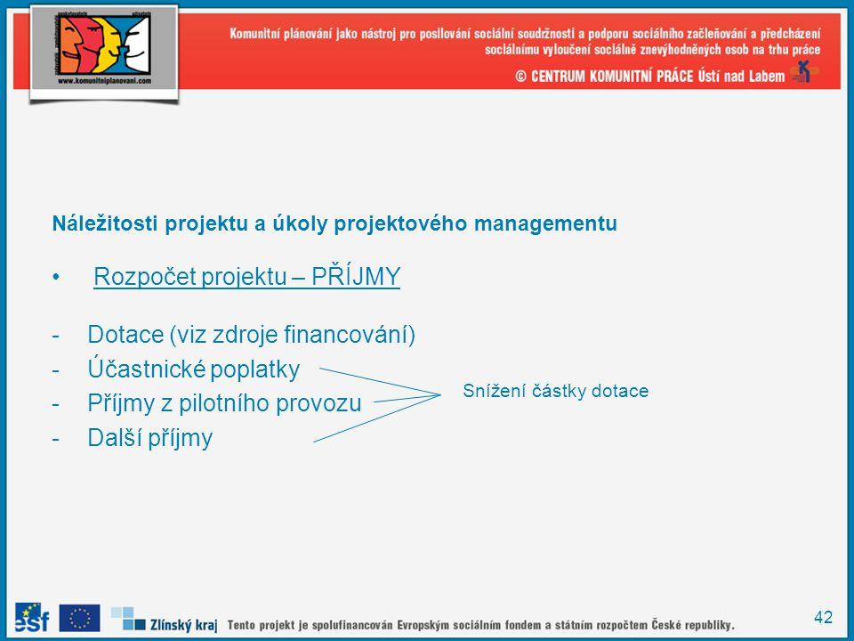 42 Náležitosti projektu a úkoly projektového managementu Rozpočet projektu – PŘÍJMY -Dotace (viz zdroje financování) -Účastnické poplatky -Příjmy z pilotního provozu -Další příjmy Snížení částky dotace