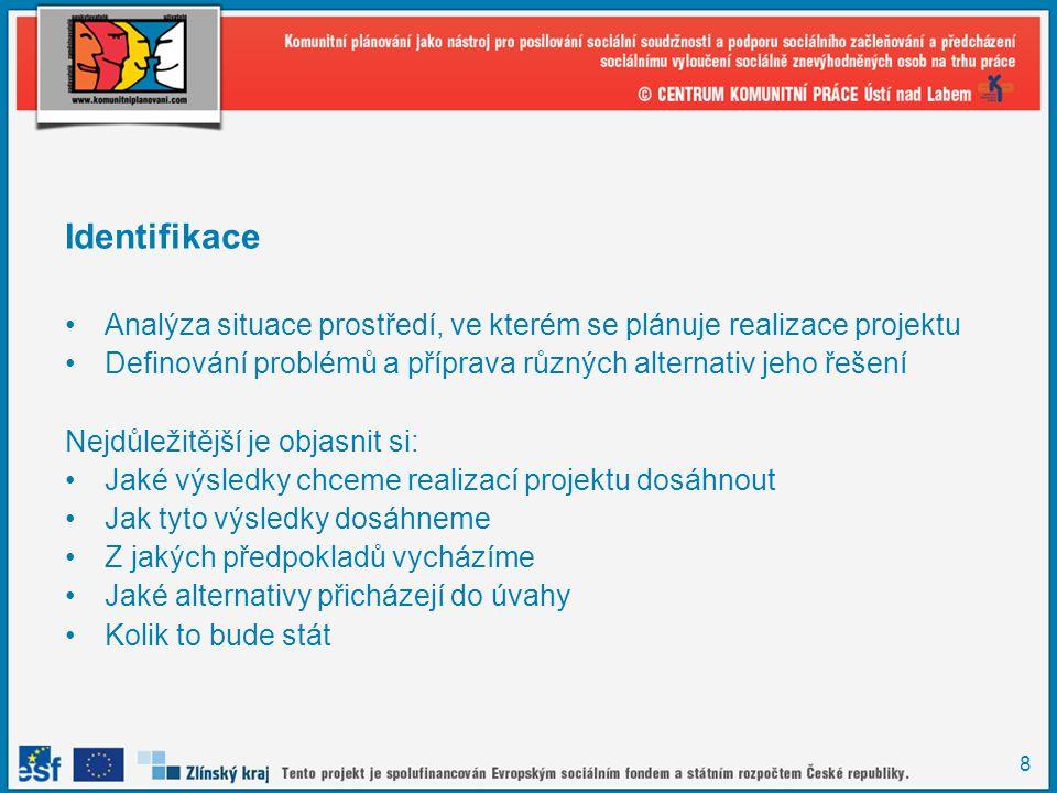 8 Identifikace Analýza situace prostředí, ve kterém se plánuje realizace projektu Definování problémů a příprava různých alternativ jeho řešení Nejdůl
