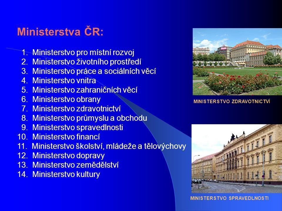Ministerstva ČR: 1. Ministerstvo pro místní rozvoj 2.